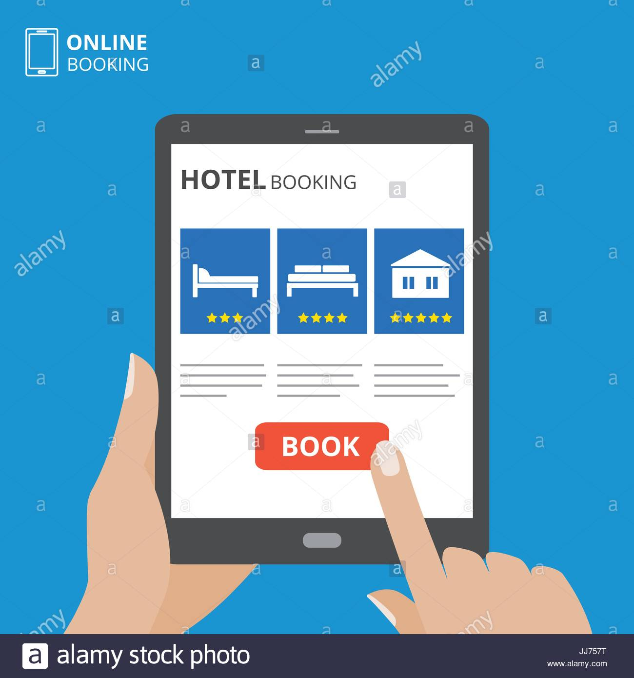 Design concept of hotel booking online. Tablet computer with hand touching a screen. Display with book button and bed icons.
