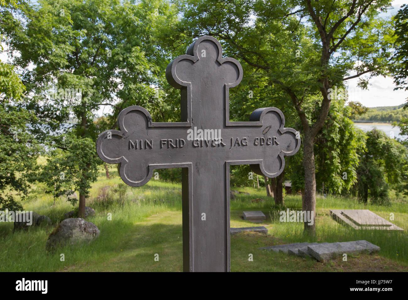 Wallenberg's mausoleum is the genus Wallenberg's burial site, Lindö, Stockholm, Sweden. - Stock Image