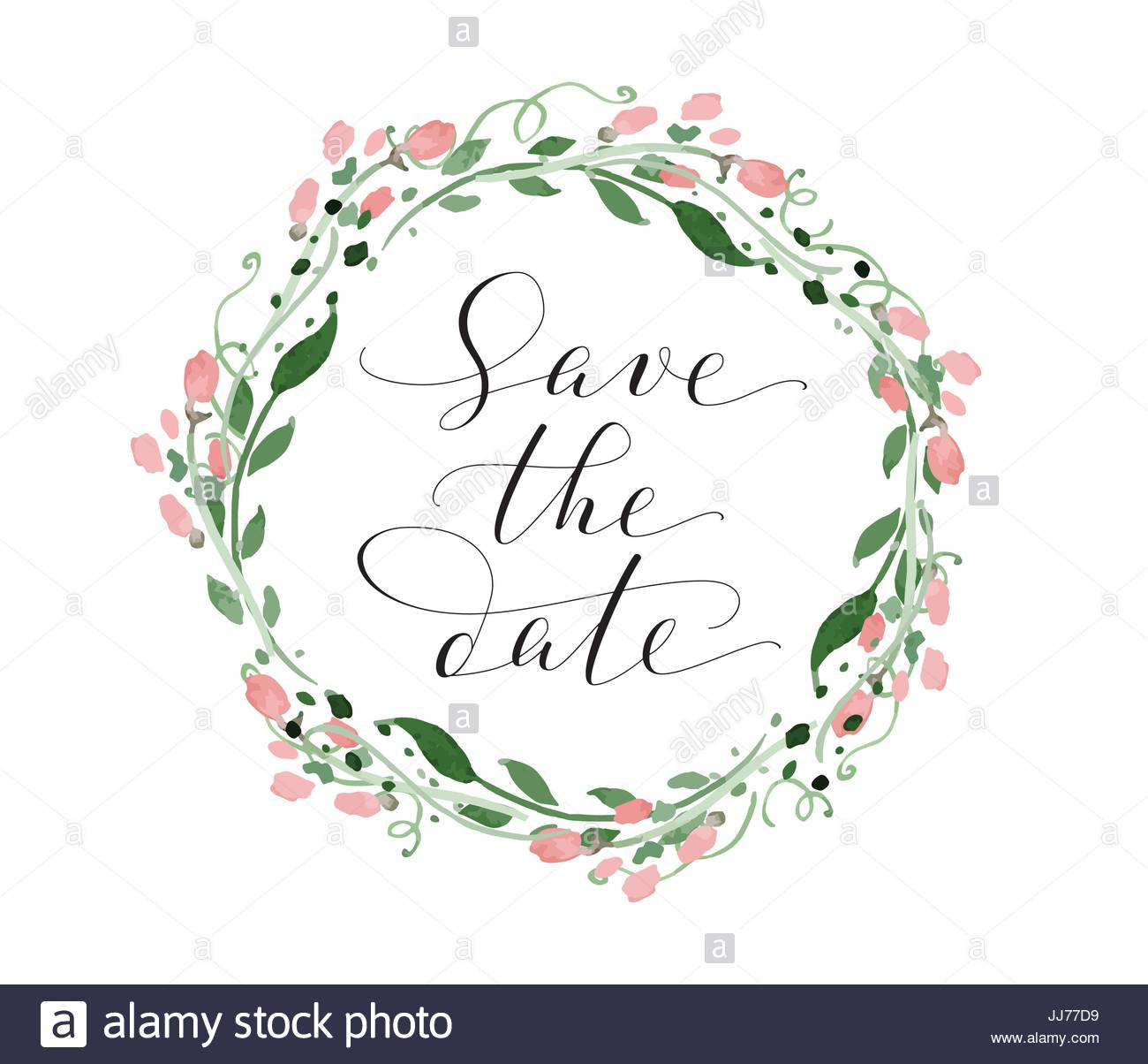 save the date card with watercolor floral wreath wedding invitation