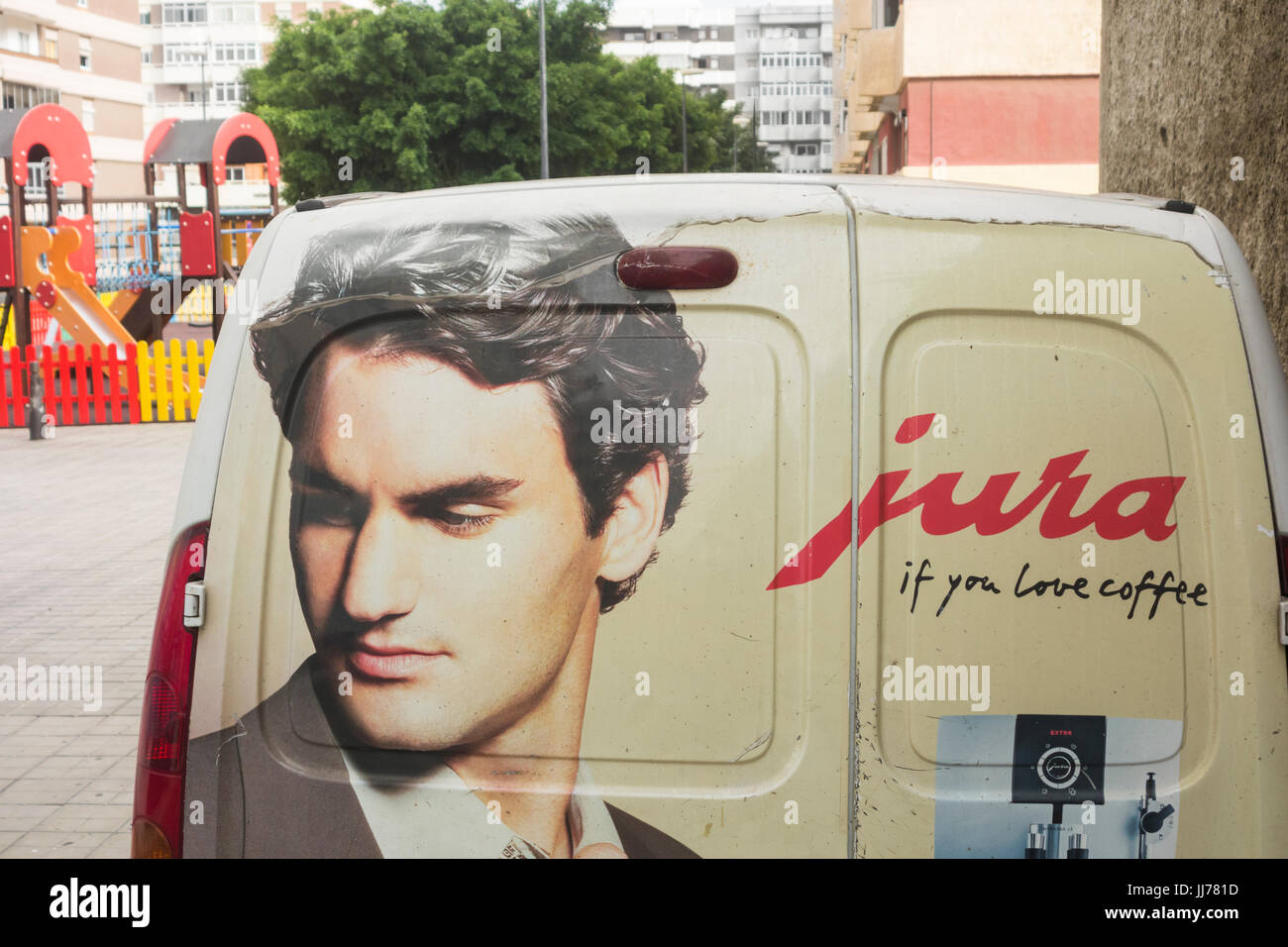 Image of Roger Federer on van delivering Jura coffee (one of his sponsors) in Spain. - Stock Image