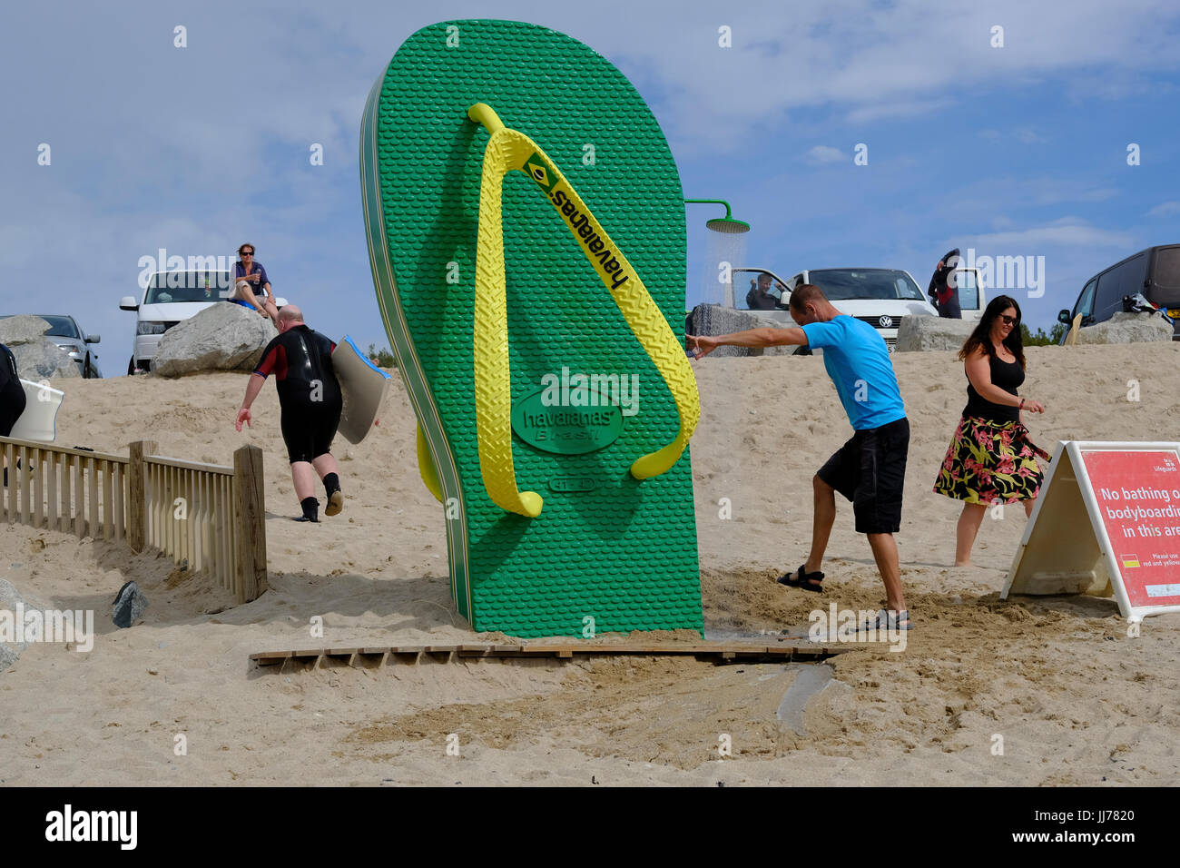 318942a082b7cb Flip flop shaped shower on Fistral beach Newquay Stock Photo ...