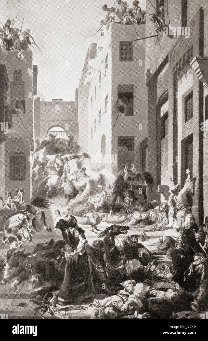 The massacre of the Mamelukes at the Cairo citadel, 1811 by Muhammad Ali of Egypt.  Muhammad Ali Pasha al-Mas'ud - Stock Image