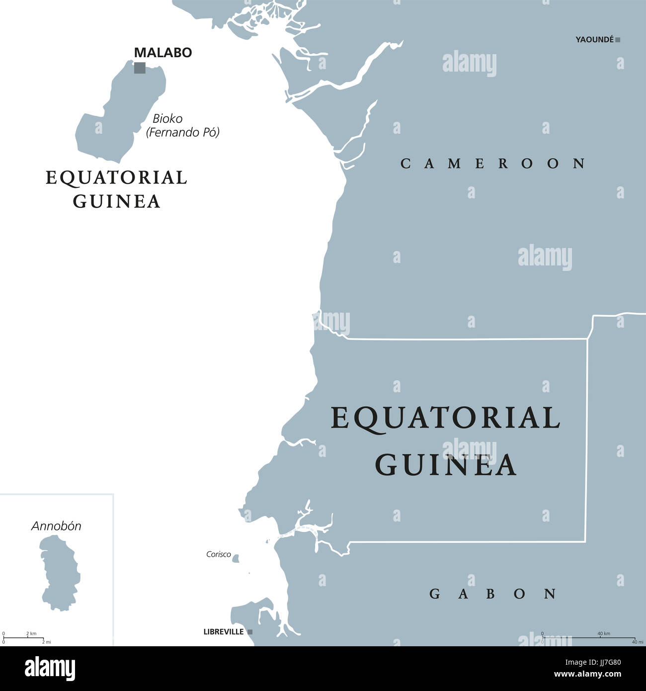 Equatorial Guinea political map with capital Malabo on Bioko or ...