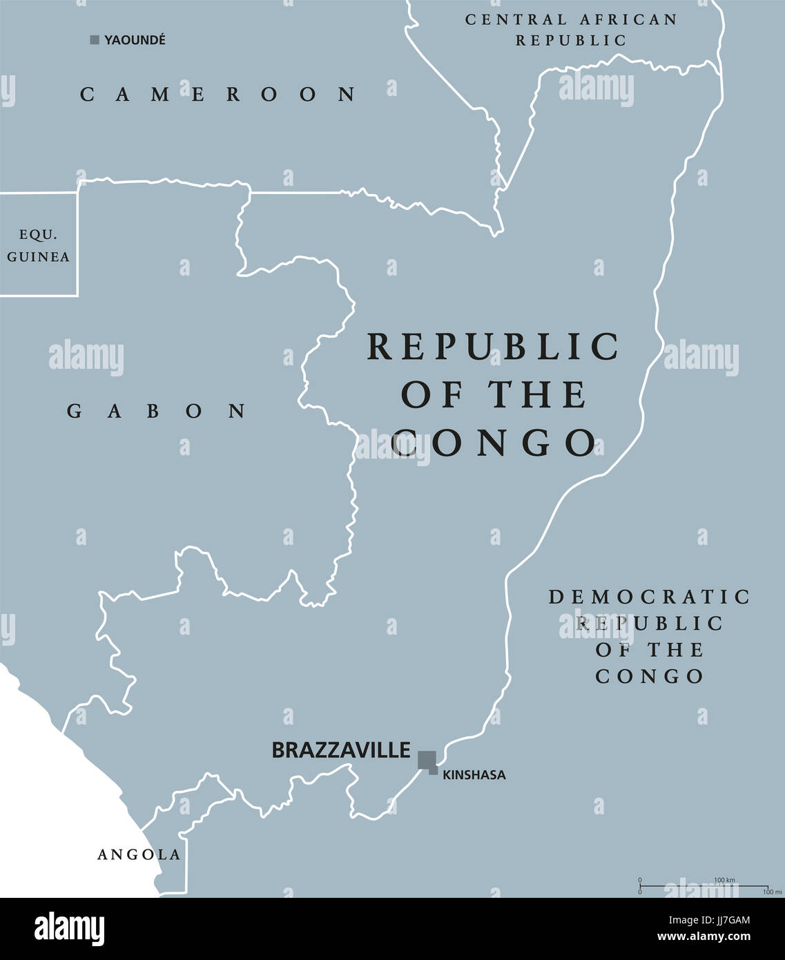 Republic of the Congo political map with capital Brazzaville. Also Congo Republic, West Congo or Congo-Brazzaville. - Stock Image