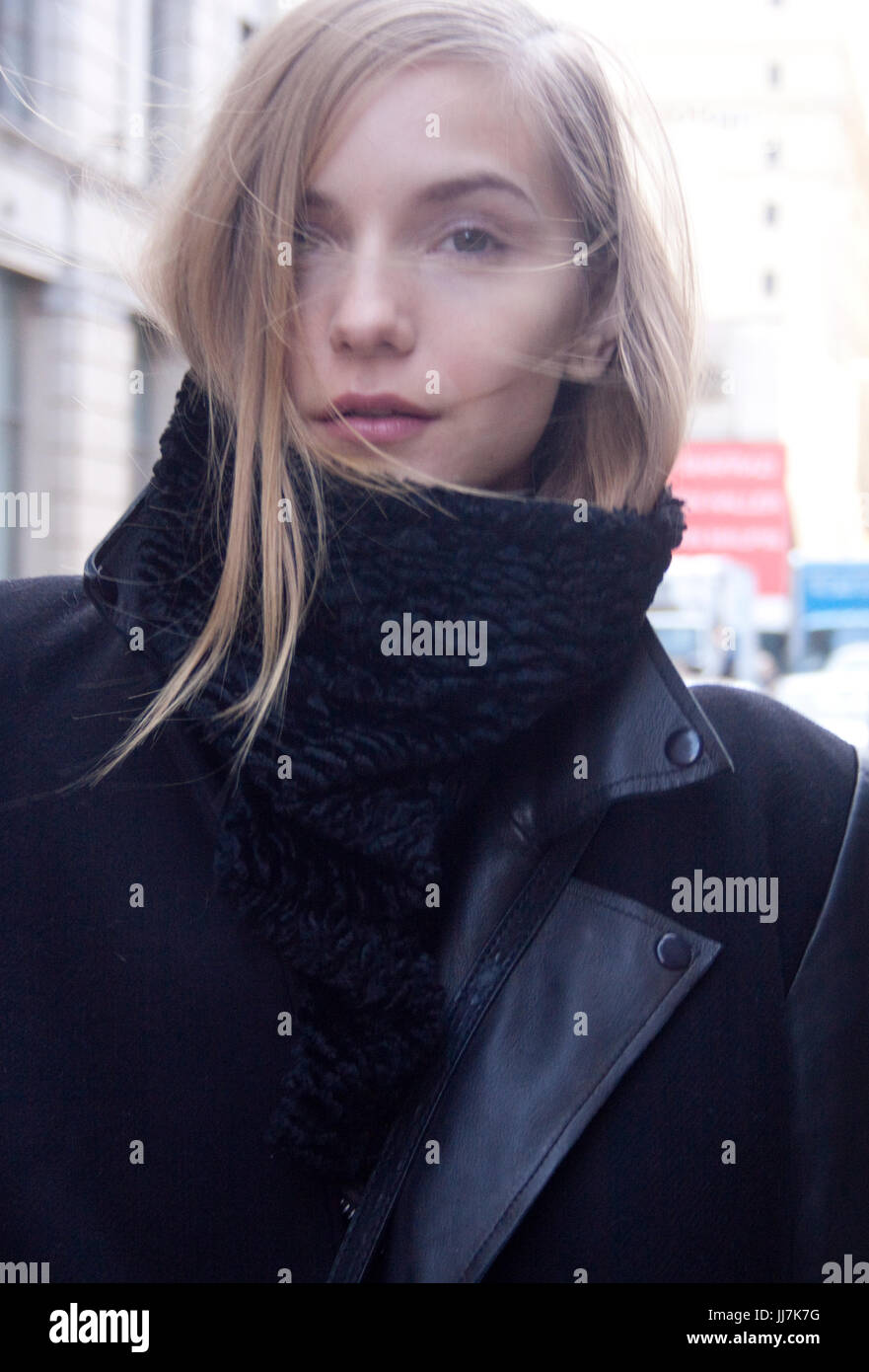 No Makeup beauty portrait of Fashion model during New York Fashion Week - Stock Image