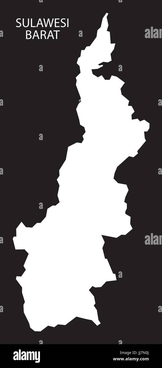 Sulawesi Barat Indonesia map black inverted silhouette illustration shape - Stock Vector