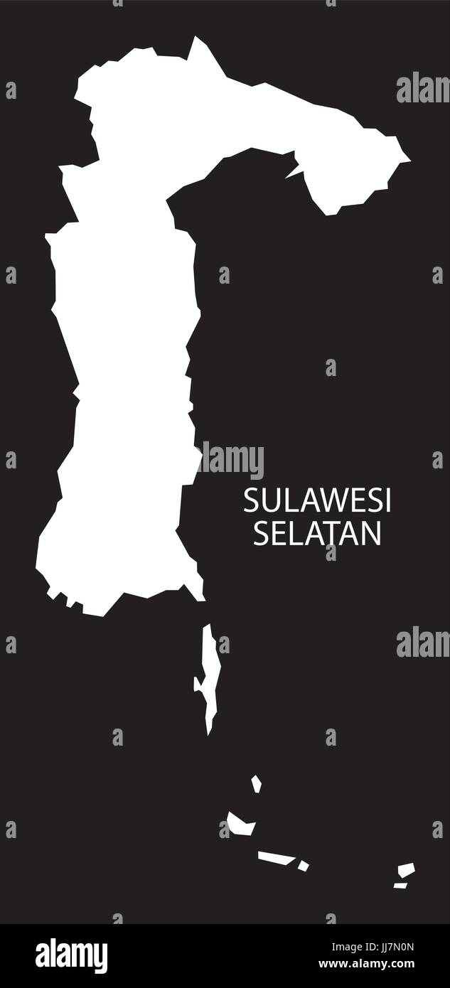 Sulawesi Selatan Indonesia map black inverted silhouette illustration shape - Stock Vector