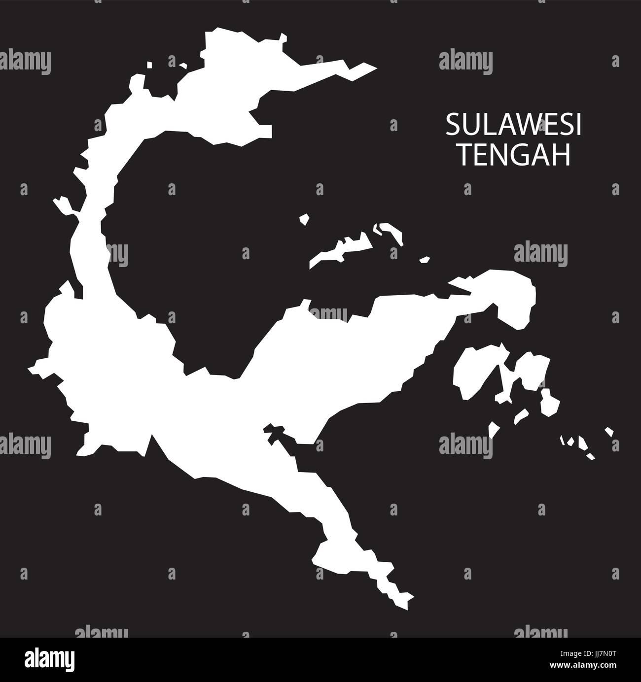 Sulawesi Tengah Indonesia map black inverted silhouette illustration shape - Stock Vector