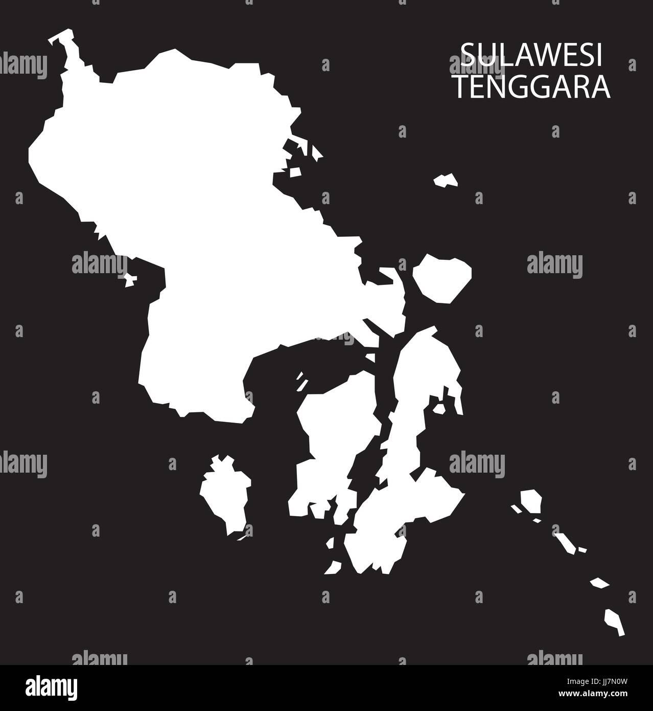 Sulawesi Tenggara Indonesia map black inverted silhouette illustration shape - Stock Vector