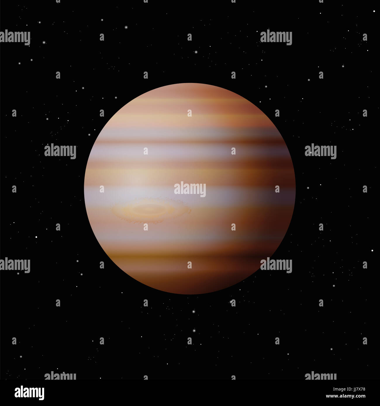 Planet Jupiter with typical great spot - largest planet in the Solar System - illustration on starry night galaxy - Stock Image