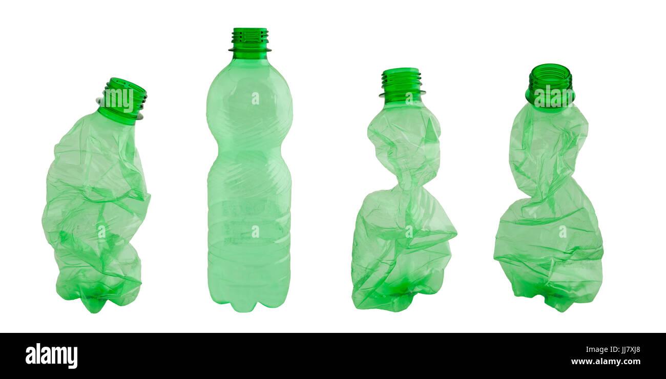 Plastic bottles isolated on white - Stock Image