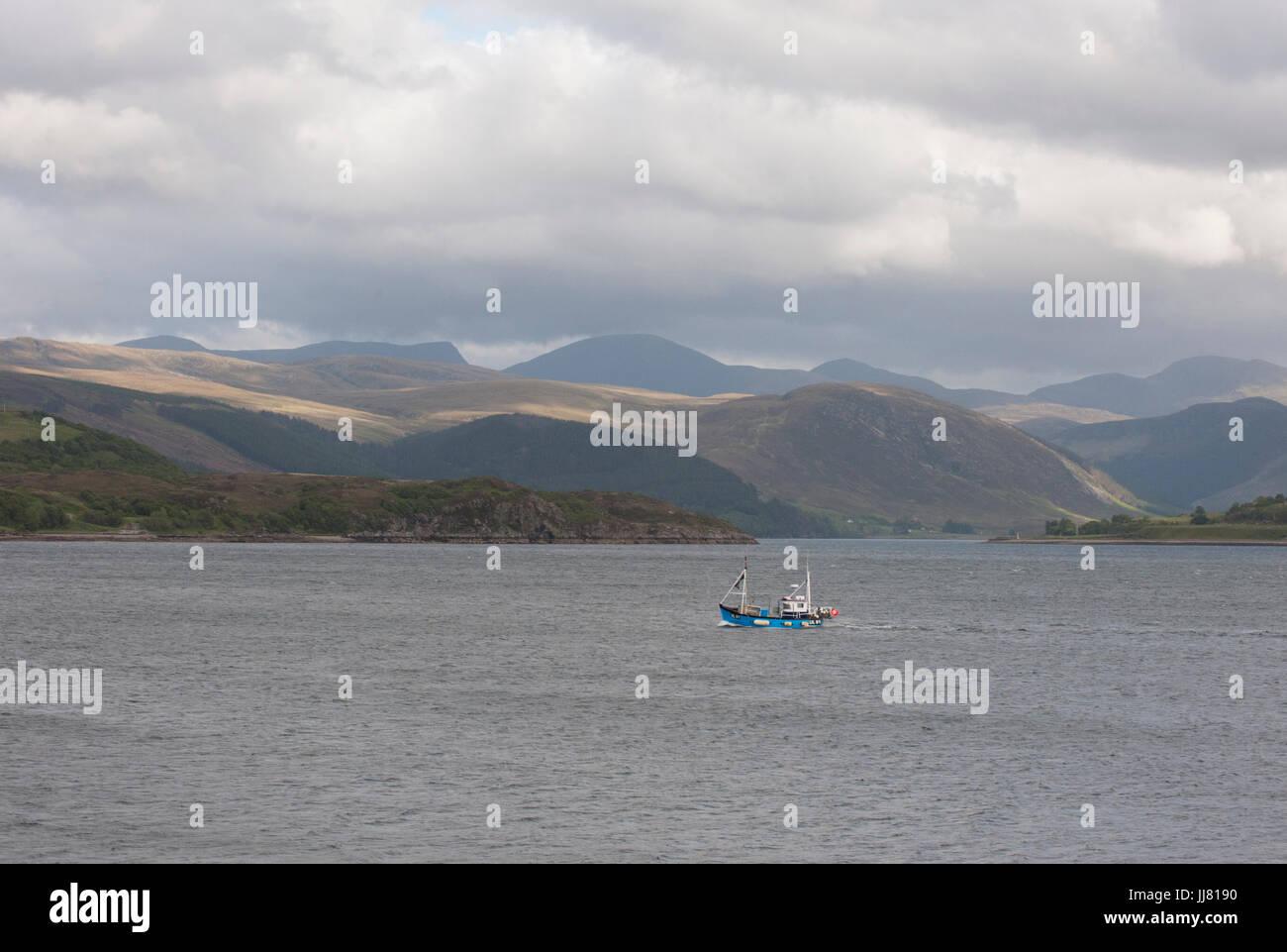 Fishing boat on Loch Broom, Ullapool, Ross-shire, Scottish Highlands, Scotland, United Kingdom - Stock Image