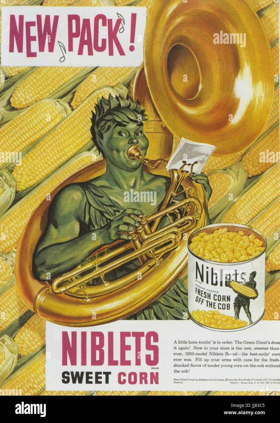 NIBLETS advert 1950 featuring the Jolly Green Giant - Stock Image
