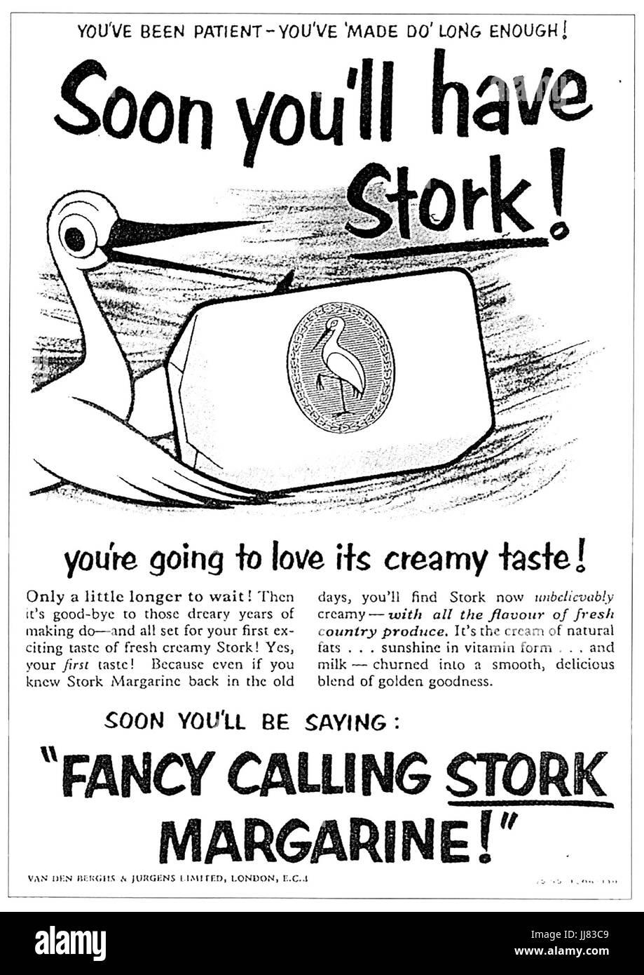 STORK MARGERINE advert 1950 - Stock Image