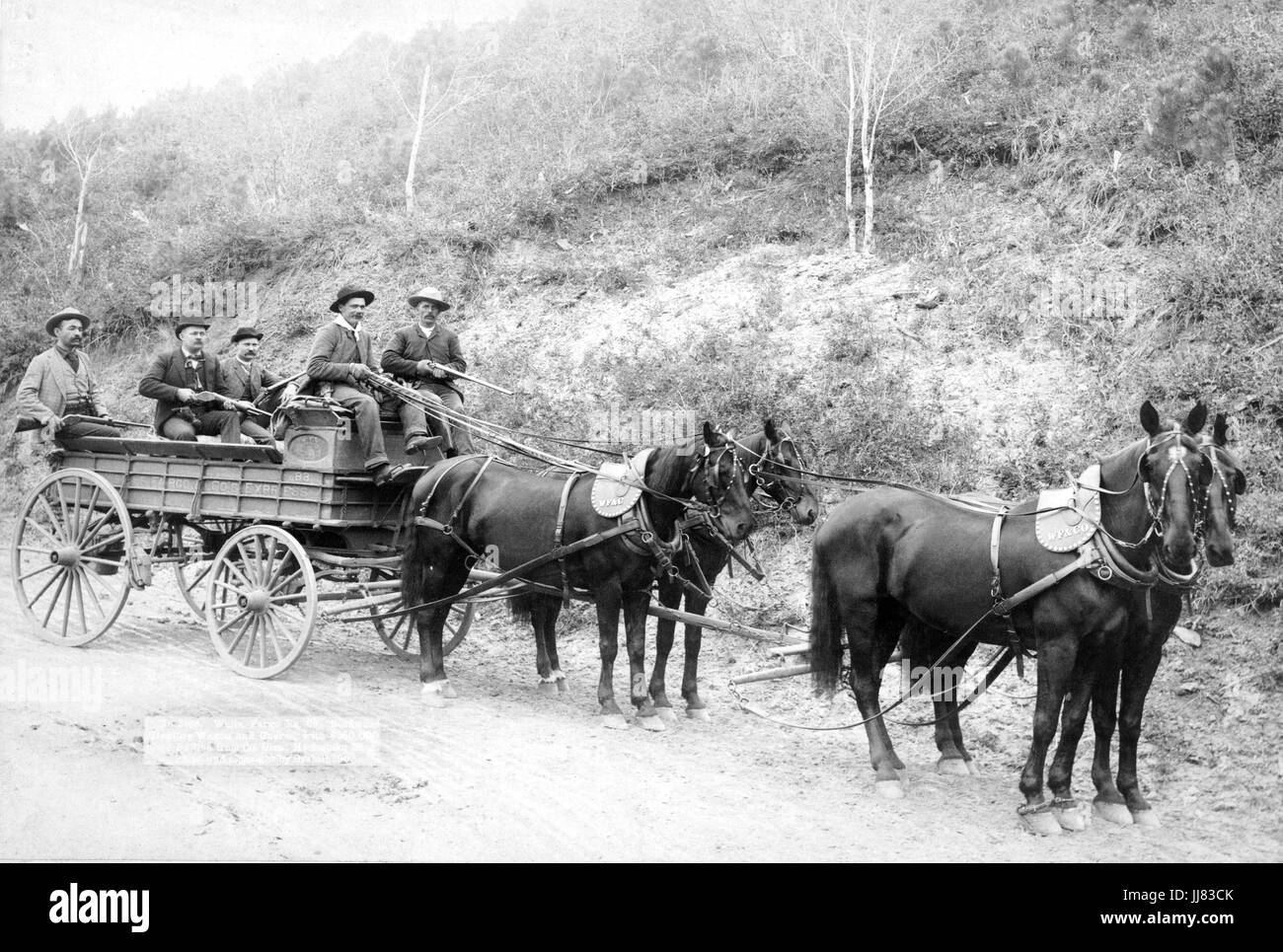 WELLS FARGO EXPRESS COMPANY The Deadwood Treasure Wagon with four armed guards carrying $250,000 in gold bullion - Stock Image