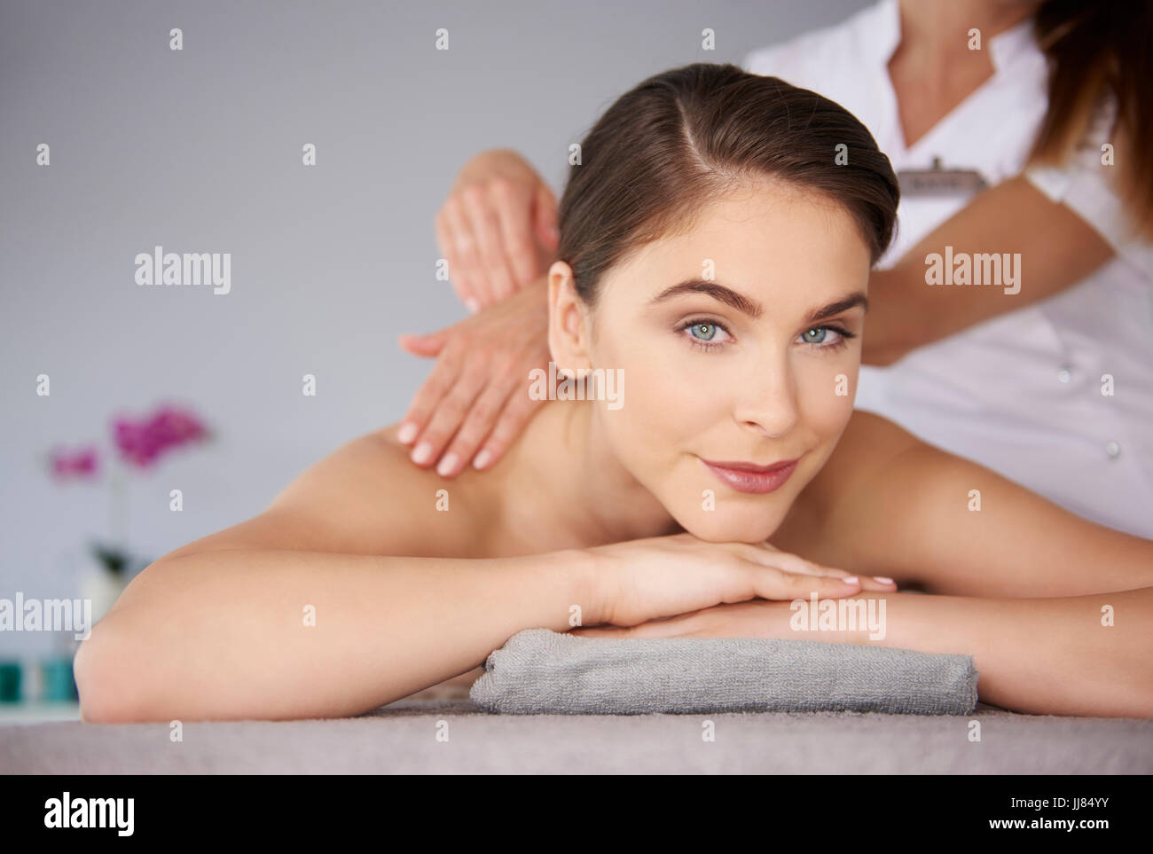 Portrait of natural woman at the spa Stock Photo