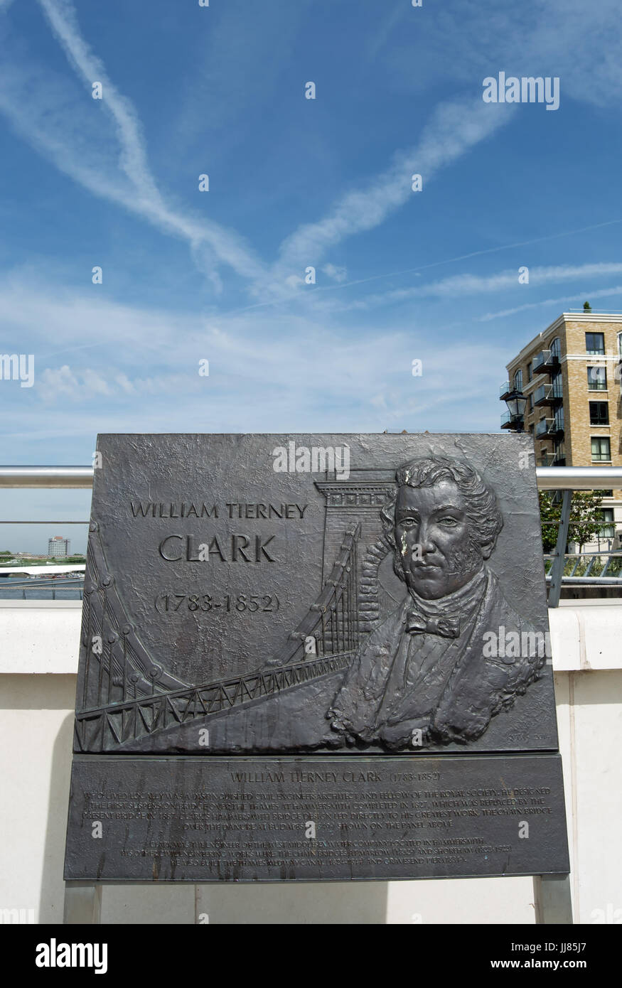 bronze plaque commemorating engineer and architect william tierney clark , designer of the first hammersmith bridge, - Stock Image