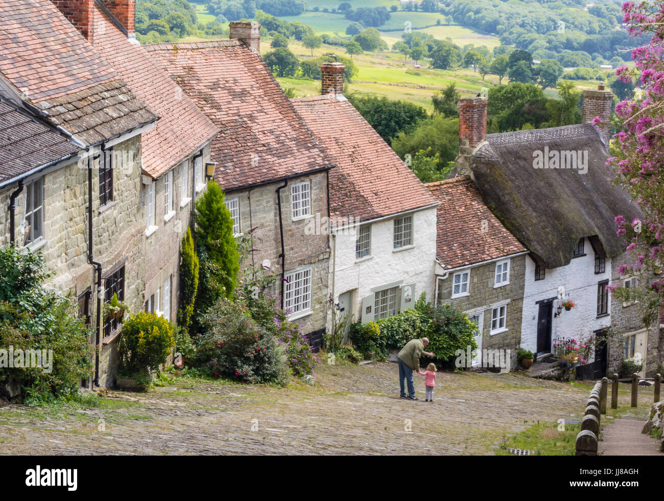 Gold Hill, a scenic, well known view from the top in Shaftesbury, Dorset, UK - Stock Image