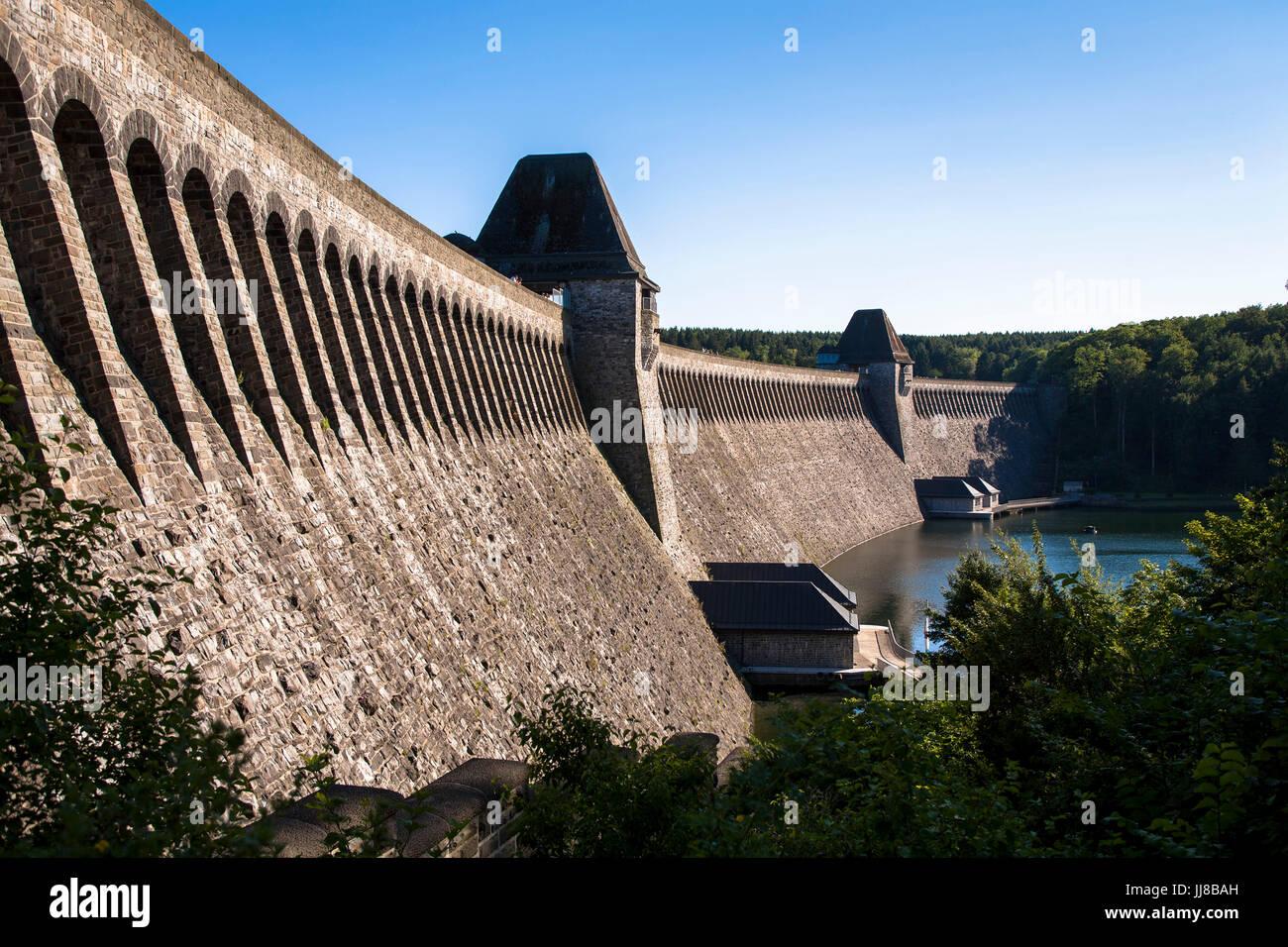 DEU, Germany, Sauerland region, Moehnesee, Moehensee water supply dam.  DEU, Deutschland, Sauerland, Moehnesee, Stock Photo