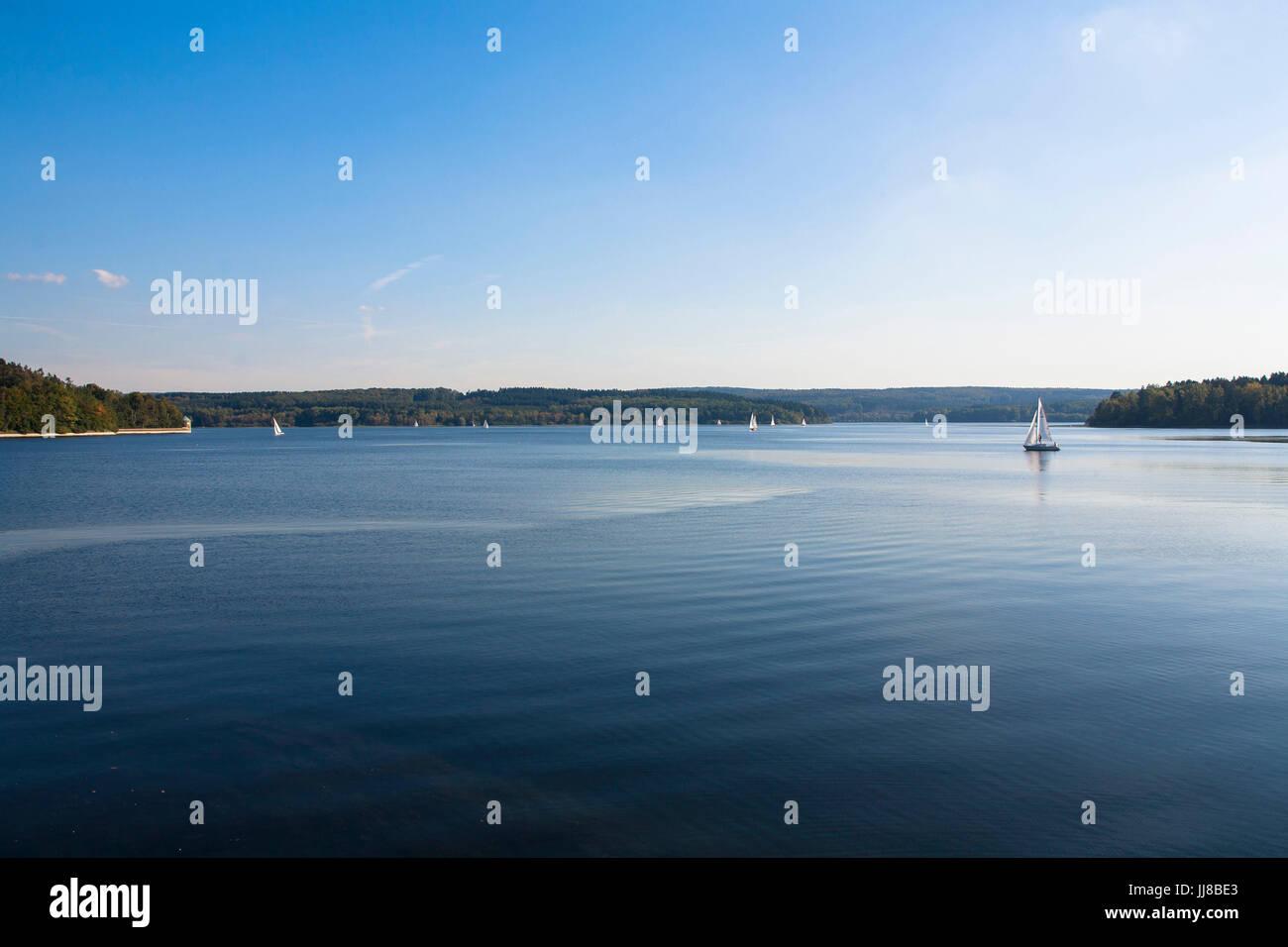 DEU, Germany, Sauerland region, Moehnesee, Moehensee water supply dam, lake Moehne, sailing boats.  DEU, Deutschland, Stock Photo