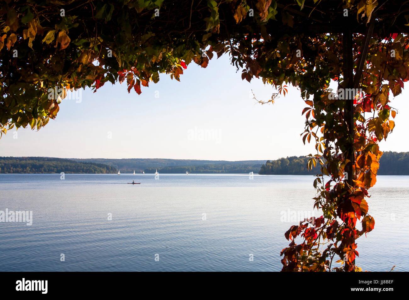 DEU, Germany, Sauerland region, Moehnesee, Moehensee water supply dam, lake Moehne.  DEU, Deutschland, Sauerland, Stock Photo