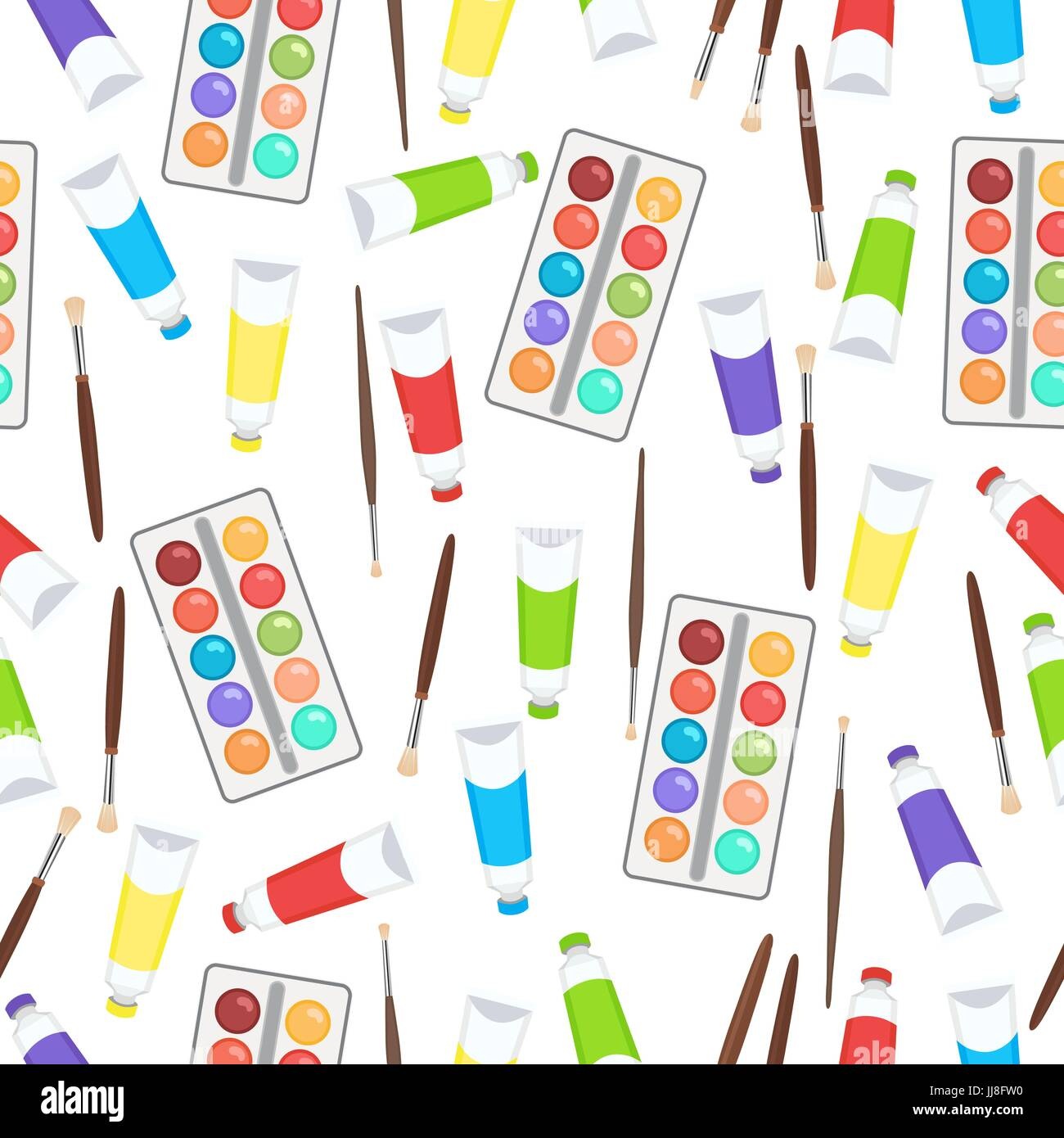 Watercolor Paint In Tubes And Brush Seamless Pattern Art Stock