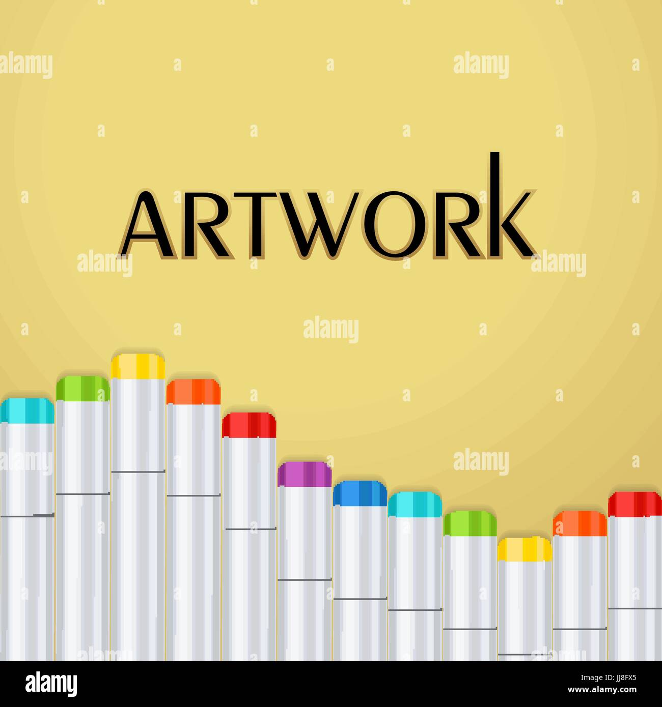 frame border a wave of art markers all colors of the rainbow on a