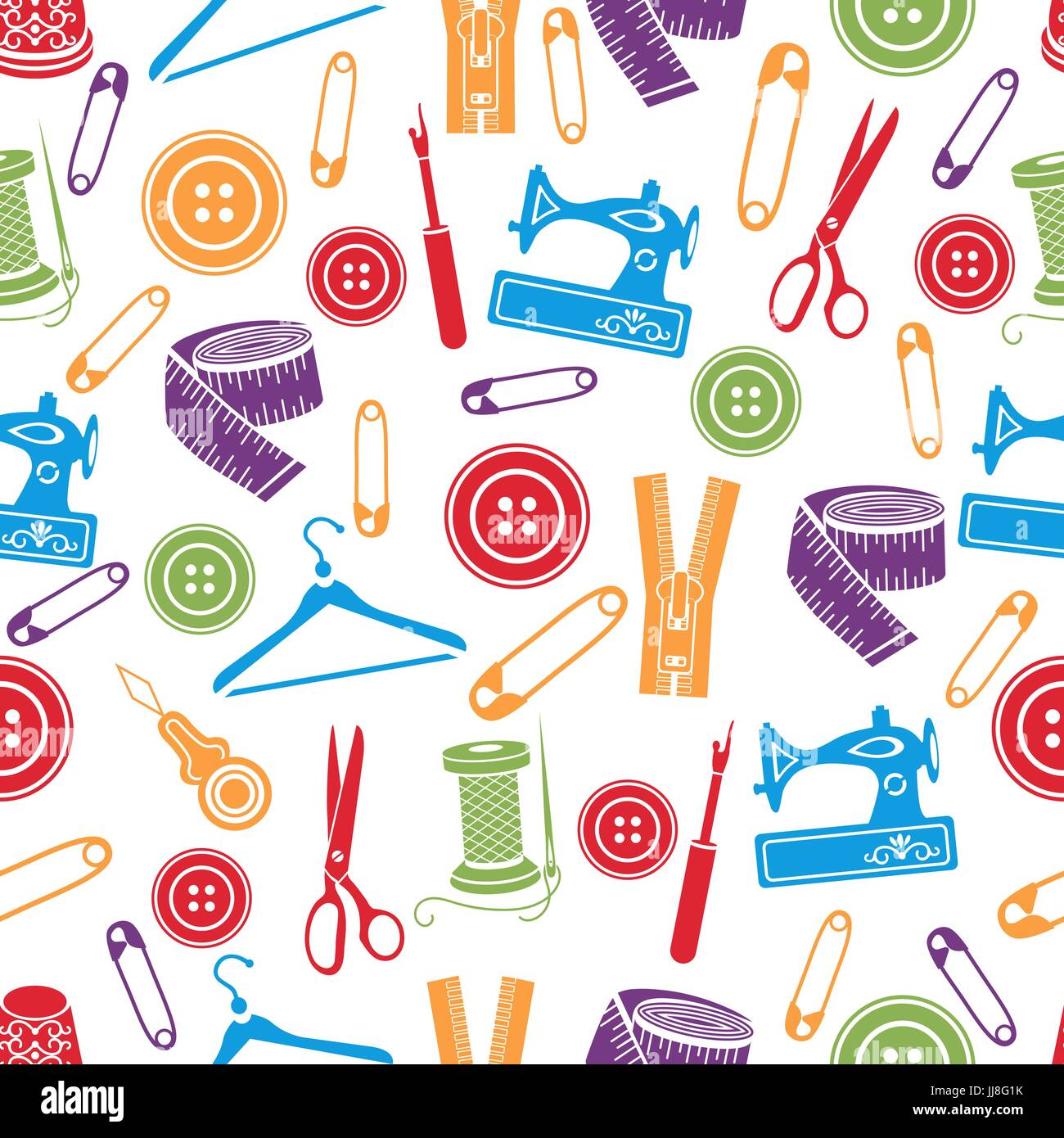 Sewing Tools Seamless Pattern Vector Background Multicolored Supplies On White For Wallpaper Design Fabric Wrapper Prints Dec