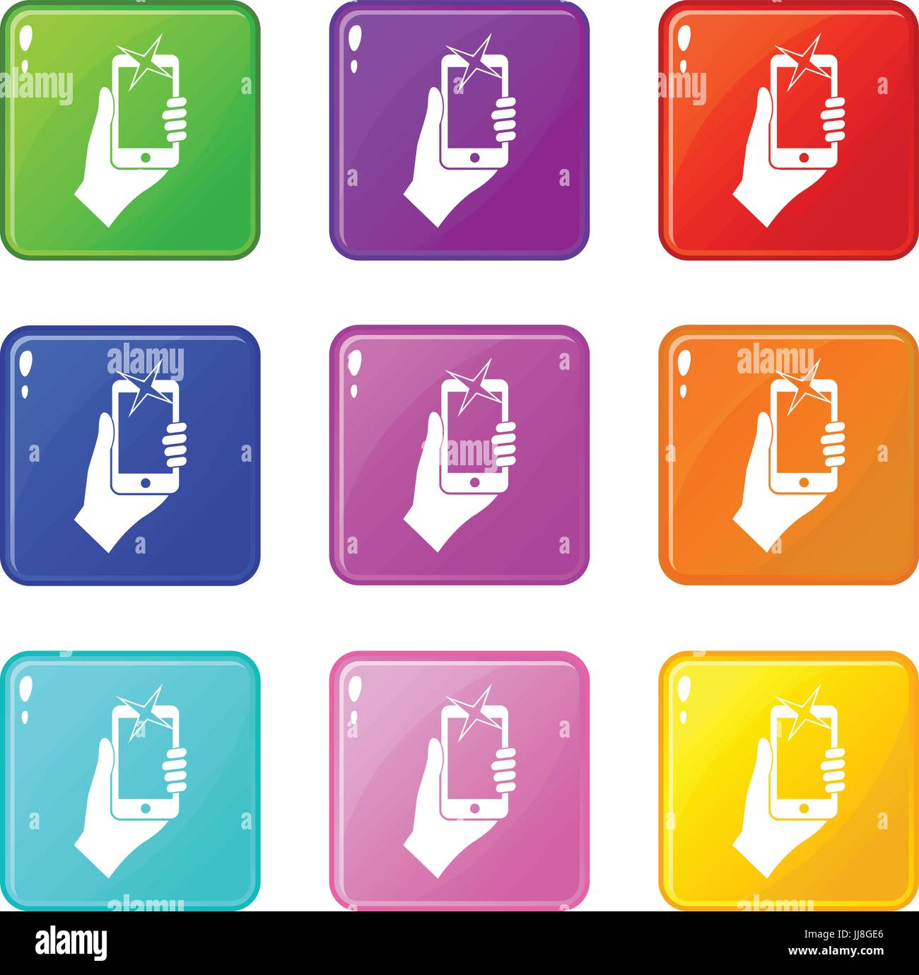 Hand photographed on mobile phone icons 9 set - Stock Vector