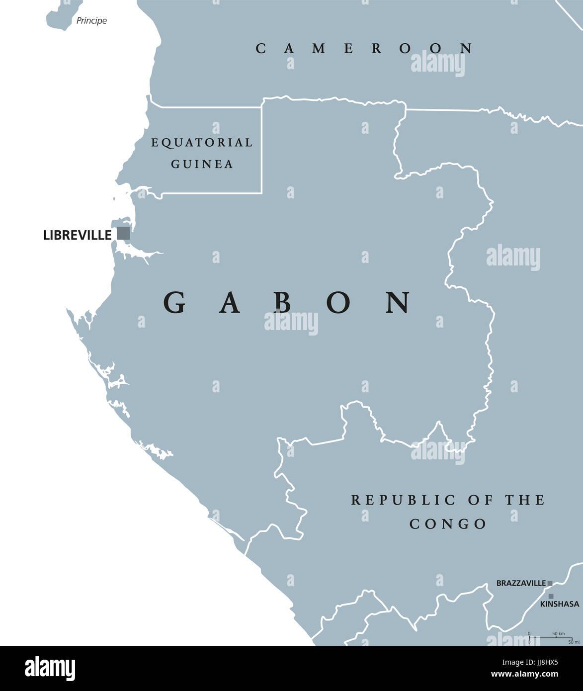 Gabon political map with capital Libreville Gabonese Republic a