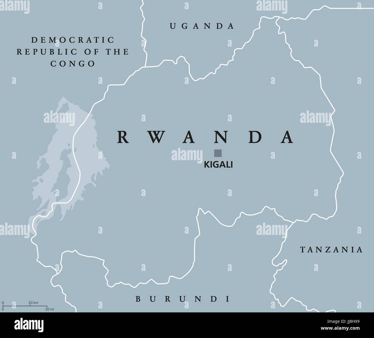Rwanda political map with capital Kigali. Republic and sovereign ...