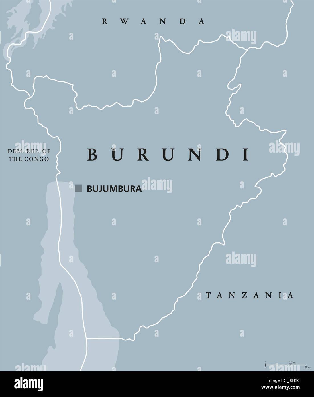 Burundi political map with capital Bujumbura and international Stock