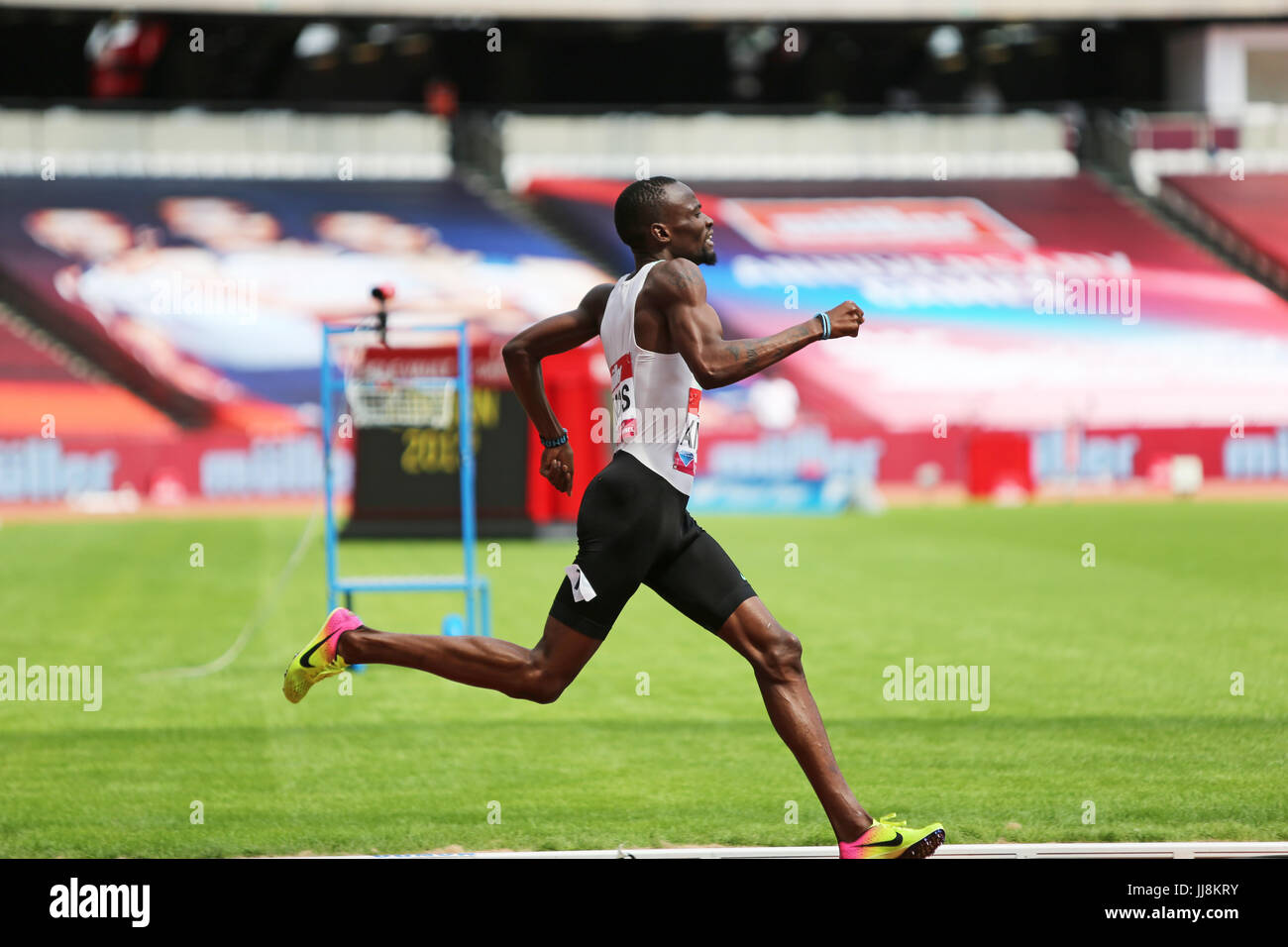Nijel AMOS, competing in the 800m Men's Final at the 2017, IAAF Diamond League, Anniversary Games, Queen Elizabeth - Stock Image