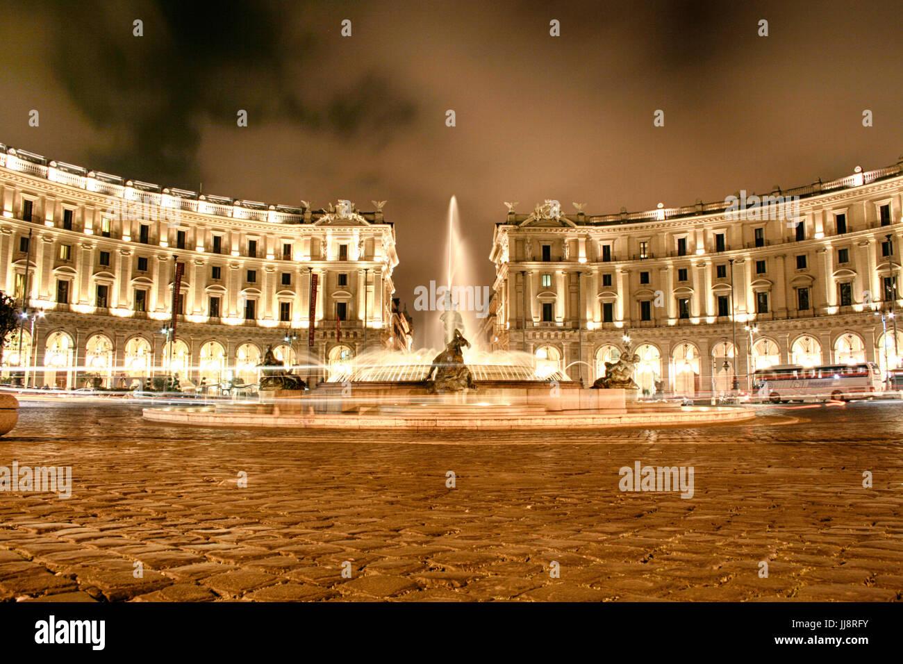 The Fountain at Piazza della Repubblica and Piazza Esedra in Rome, Italy - Stock Image