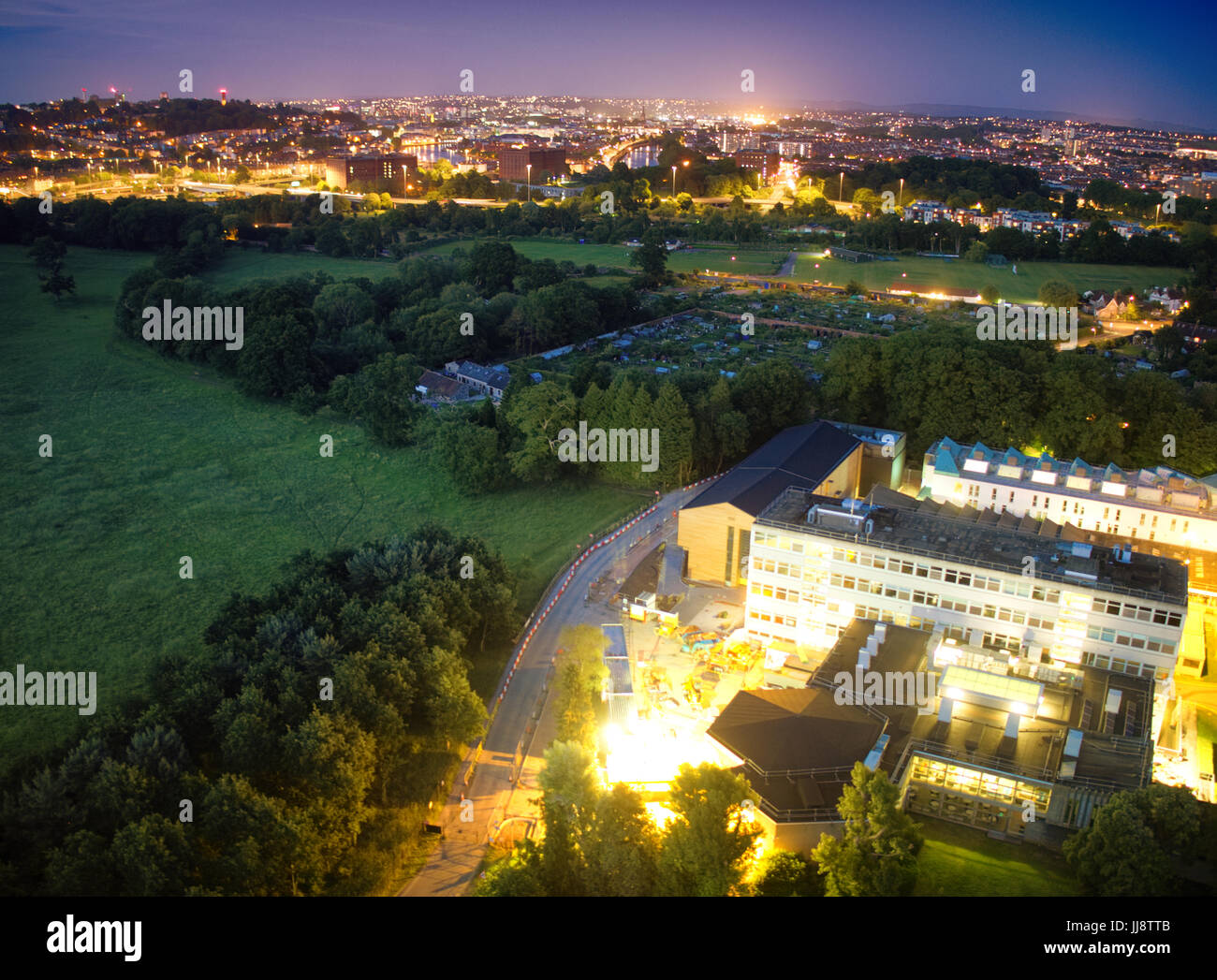 Aerial view of UWE Bower Ashton Campus under construction, the City of Bristol at night - Stock Image