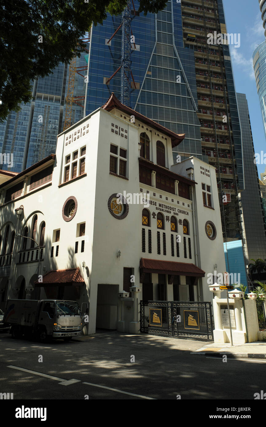 Telok Ayer Chinese Methodist Church (TA1) at Telok Ayer Street, Chinatown, Singapore - Stock Image