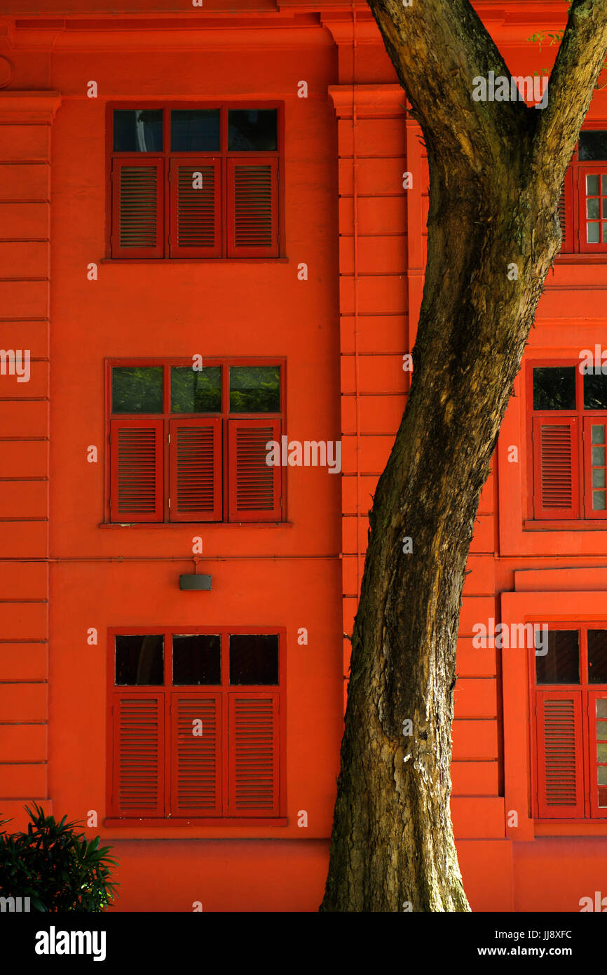 Red Dot Design Museum wall and tree. Singapore Stock Photo