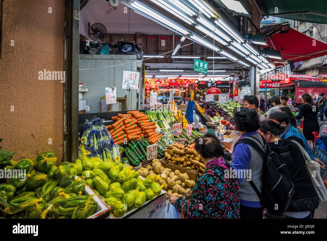 Greengrocer's Shop, Wan Chai, Hong Kong - Stock Image