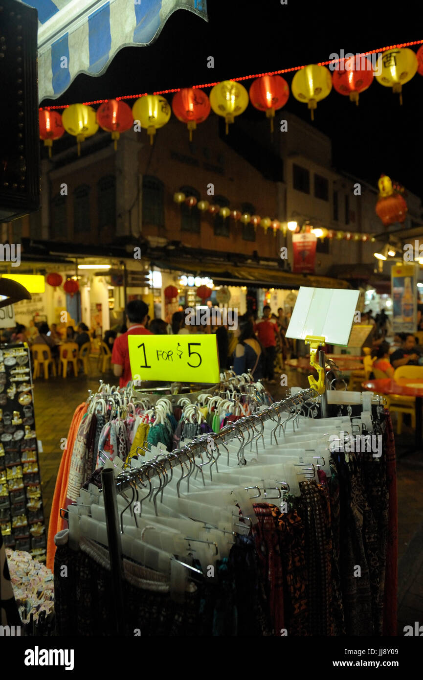 Clothing for sale in Chinatown market. Singapore Stock Photo