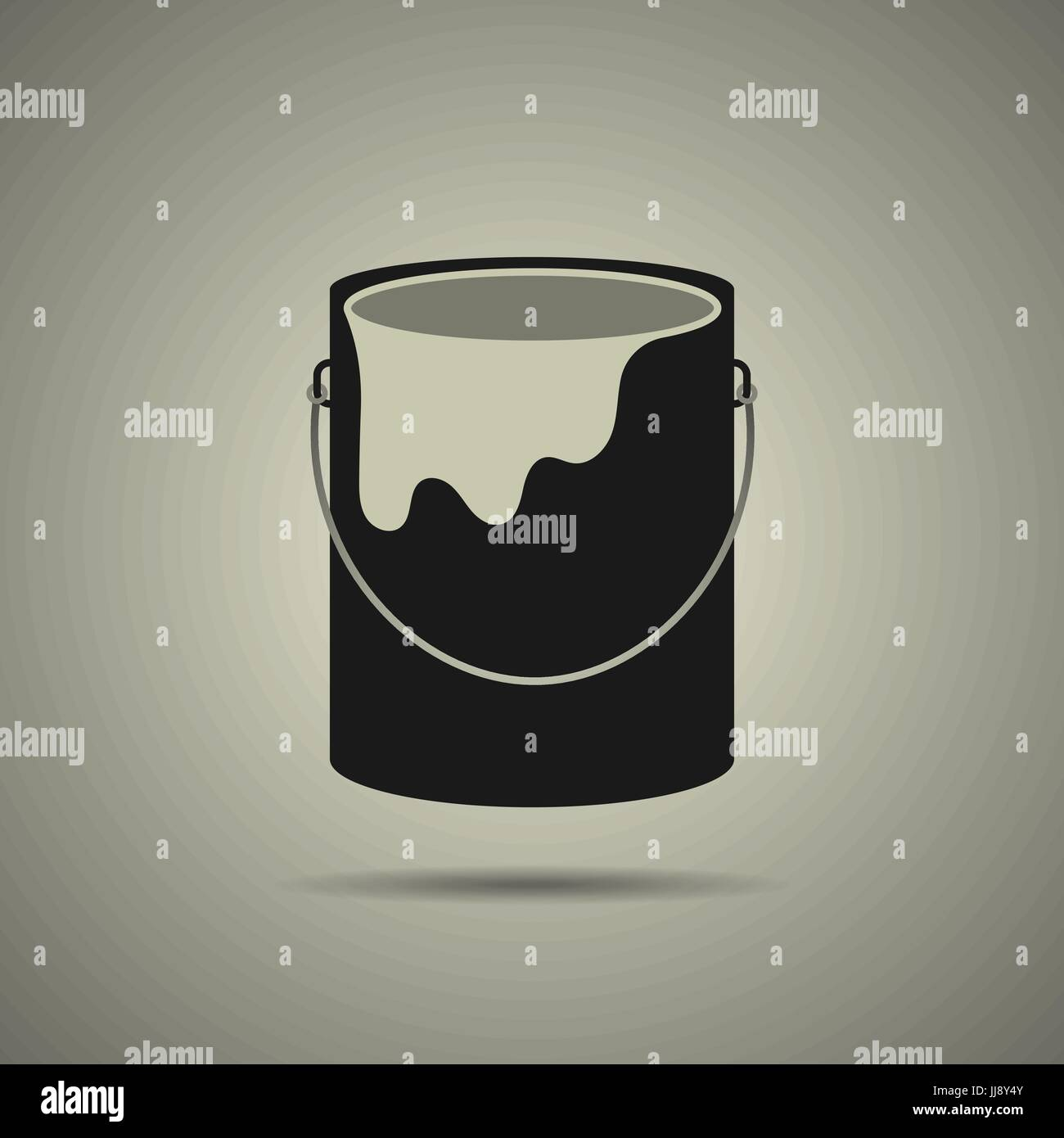 Paint bucket icon, black and white symbol. Modern, simple flat vector illustration for web site or mobile app - Stock Vector