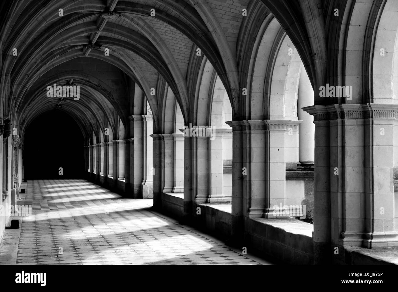 Cloister at, Abbey de Fontevraud, French Abbey, Black and White, high contrast. - Stock Image