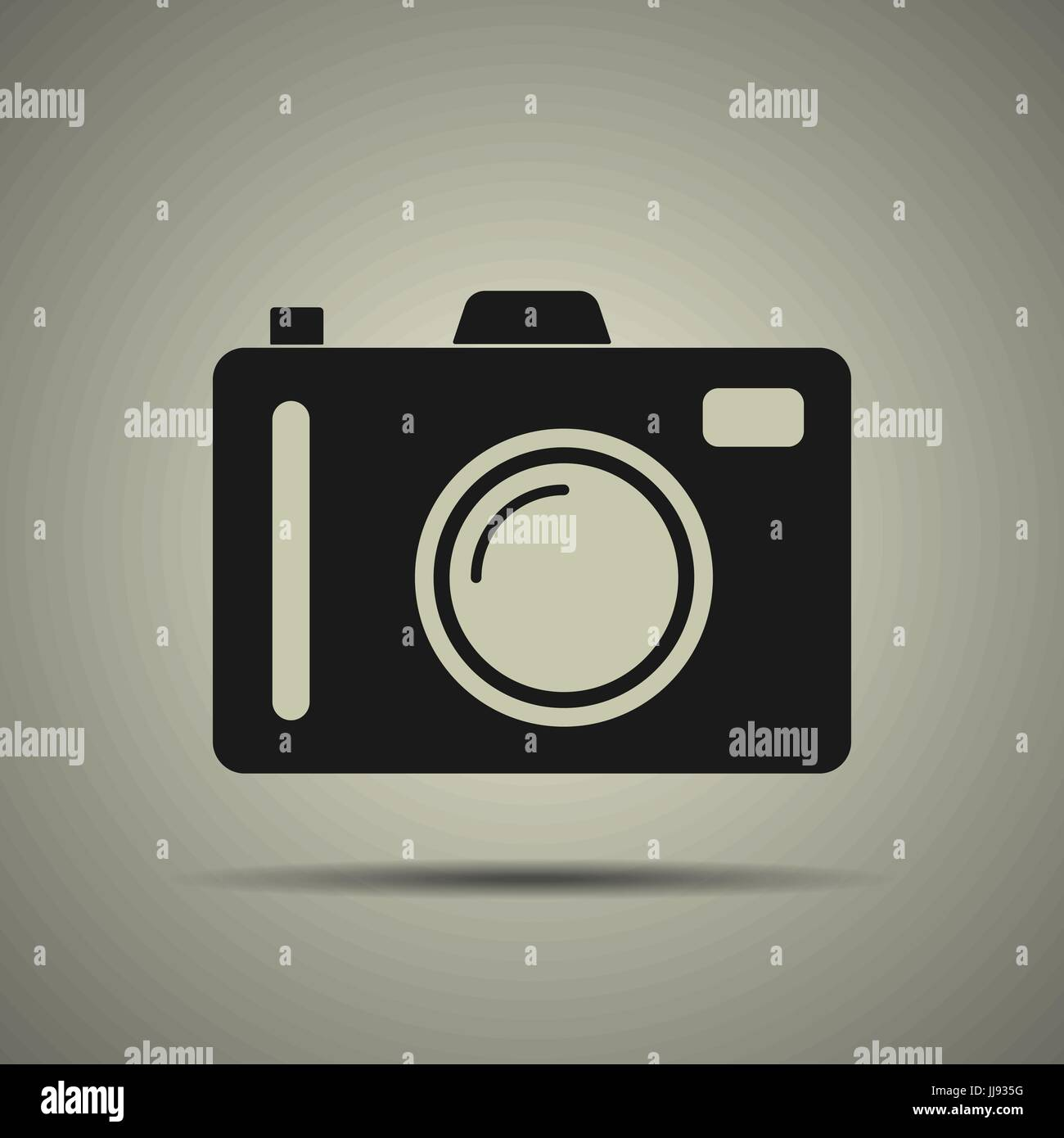 Camera icon in flat style, black and white colors, isolated - Stock Image