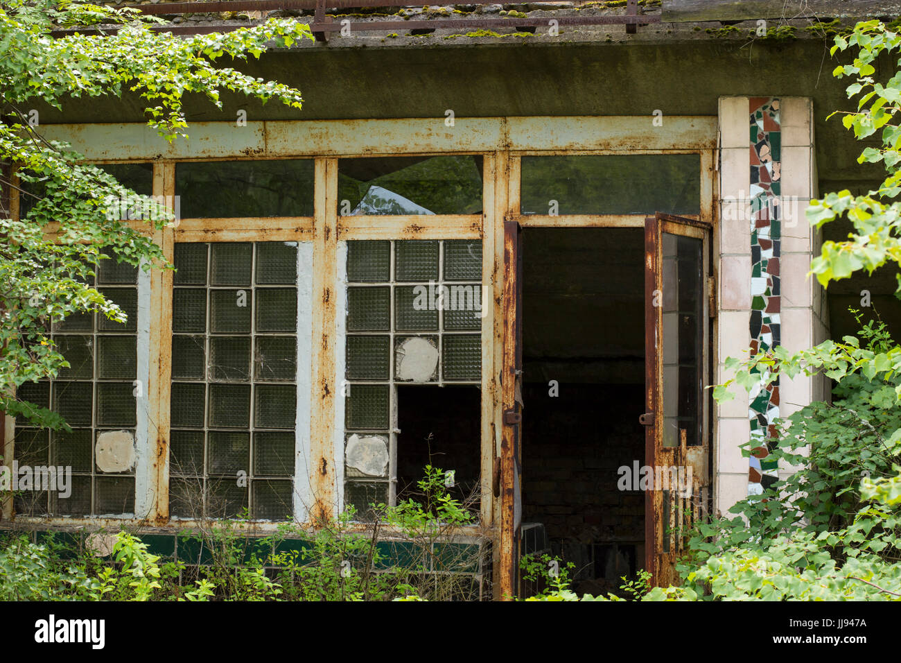 Abandoned Building in Ghost City of Pripyat in Chernobyl Exclusion Zone - Stock Image