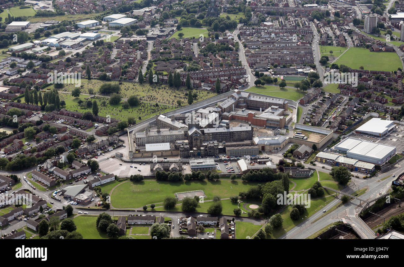 aerial view of HM Prison Leeds or Armley Jail as people call it, UK - Stock Image
