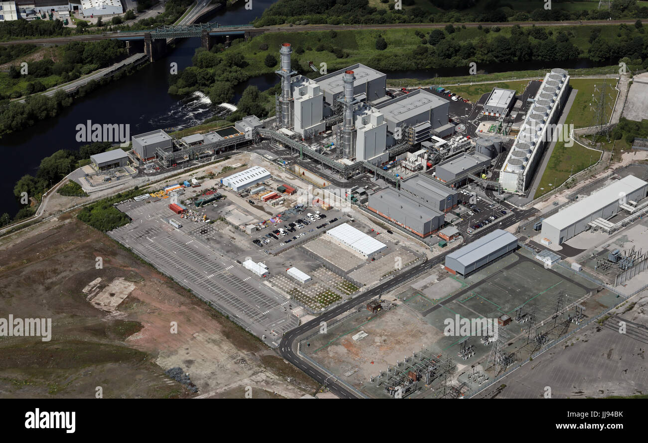 aerial view of Carrington Power Station, Irlam, Salford, Manchester, UK - Stock Image