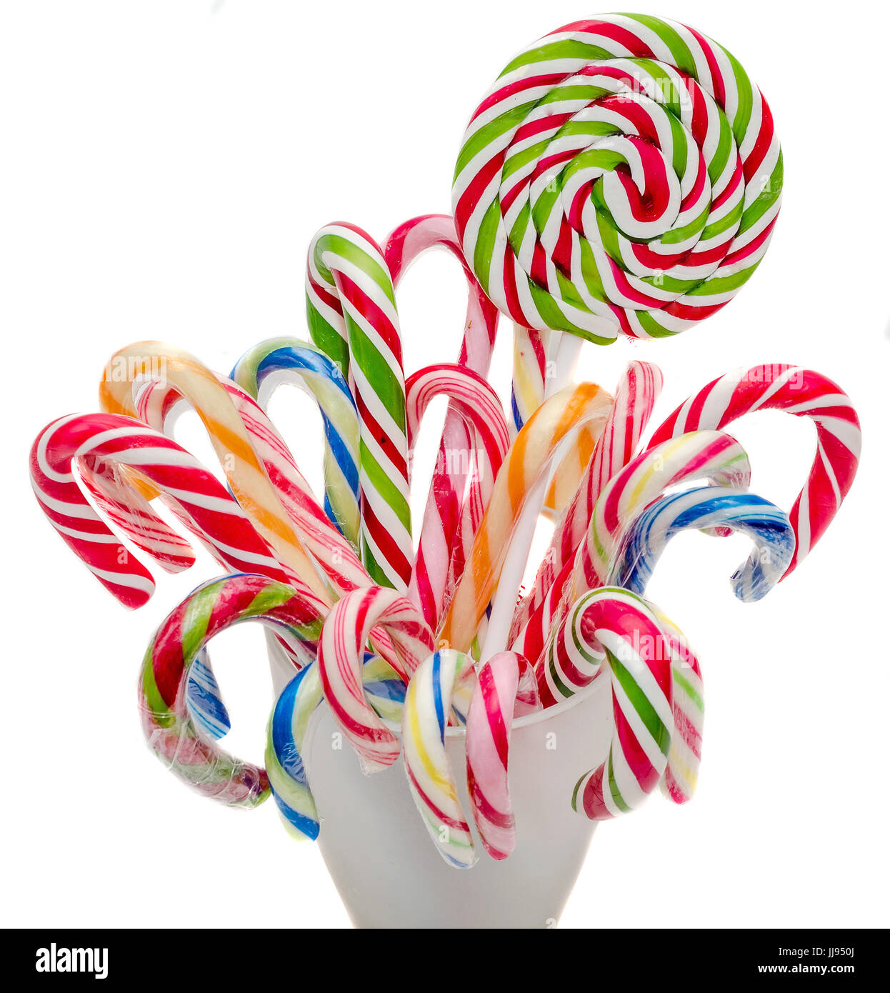 Candy Christmas.Vivid Colored Candy Christmas Sticks Lollipops Spiral