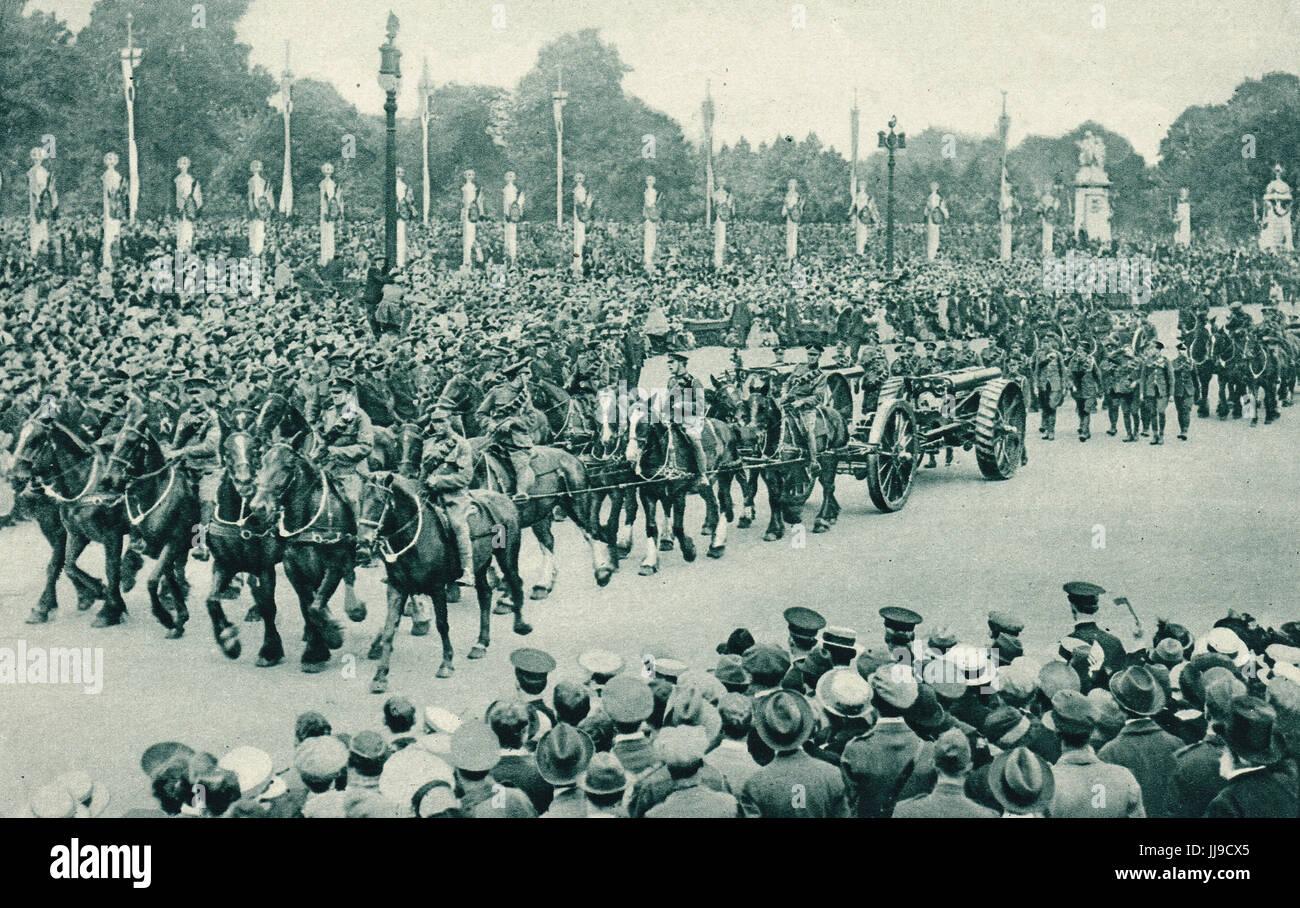 Victory parade, heavy artillery, 1919 - Stock Image
