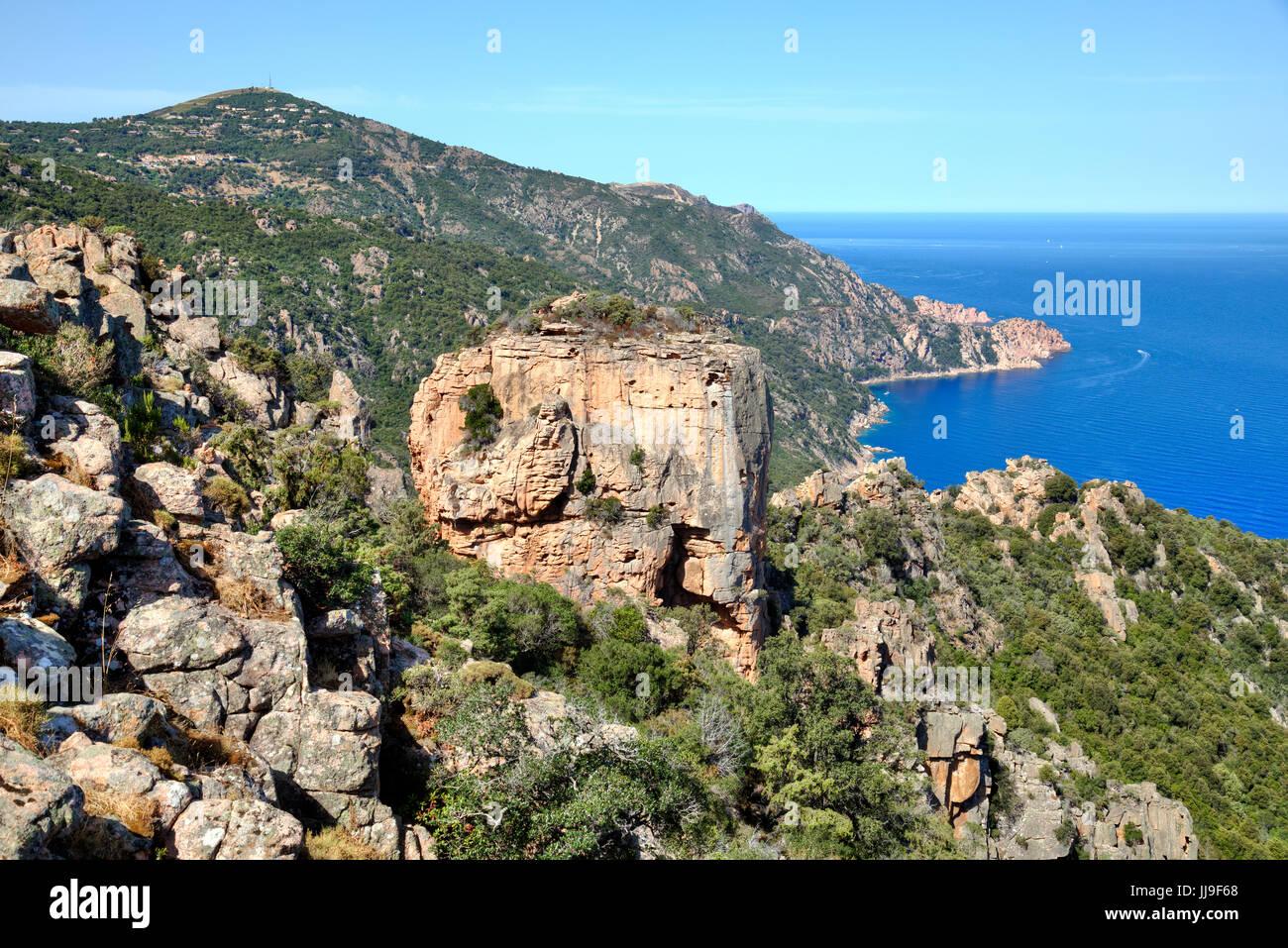 Calanques de Piana, Chateau Fort, Piana, Corsica, France - Stock Image