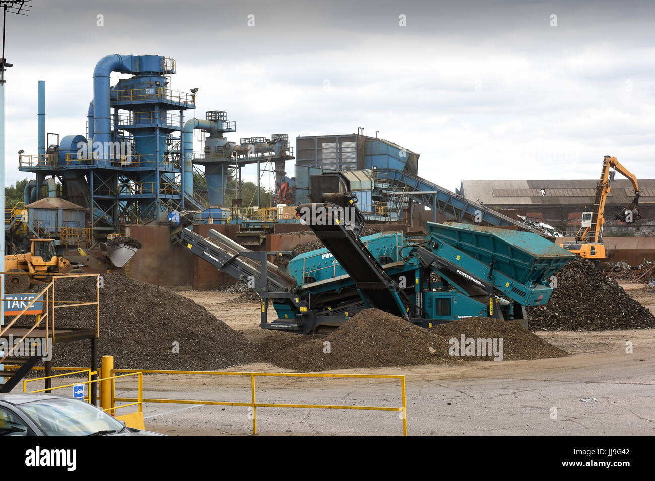 Scrap metal recycling site at Sims Metal Management in Smethwick, West Midlands. Stock Photo