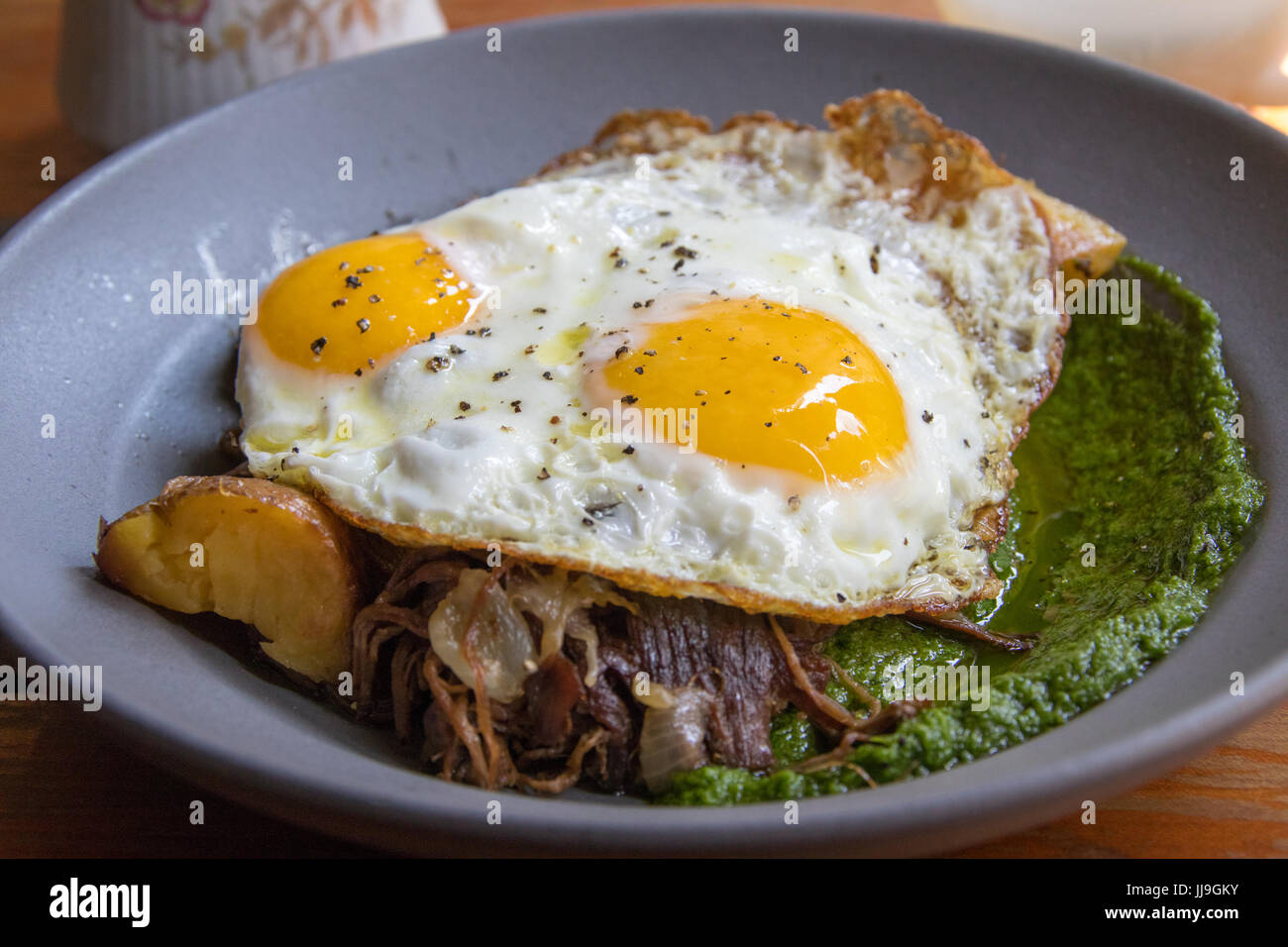 Grass fed beef hash at Hearth restaurant, East Village, New York - Stock Image